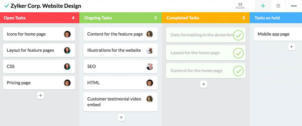 crm for startups - zoho task list