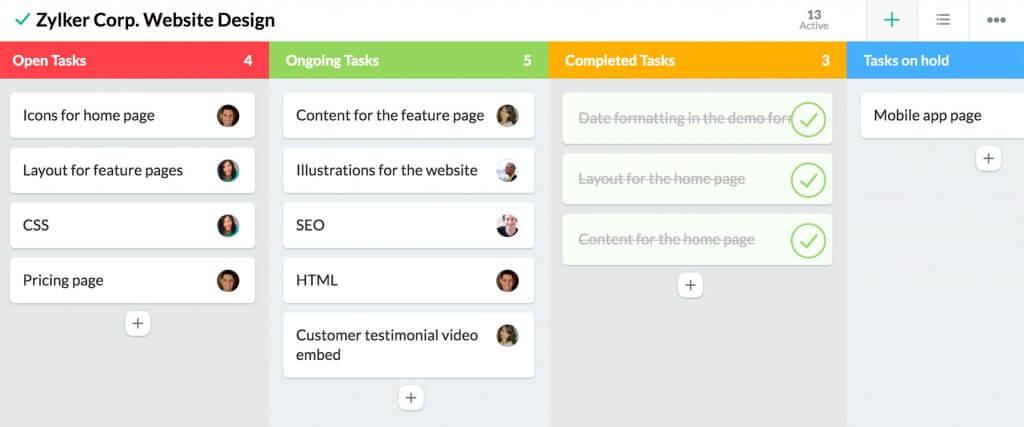 crm for startups - zoho task list
