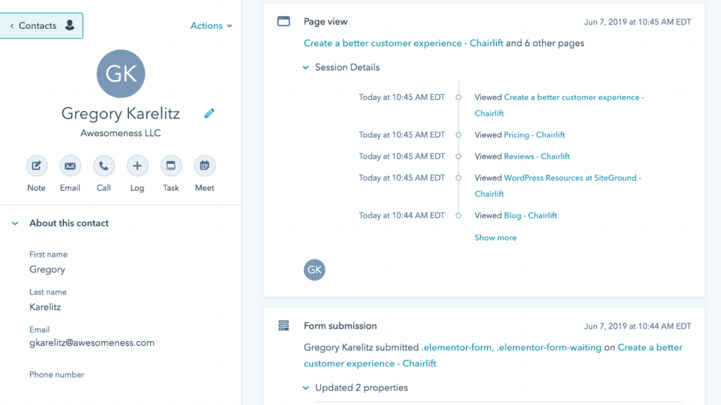 hubspot contact web activity - crm for startups